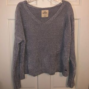 Long Sleeve Cropped Medium Gray Hollister Sweater